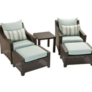 Steel 2 Piece Club Chair Ottoman Set