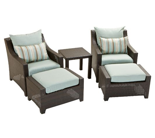 Steel 2 Piece Club Chair Ottoman Set with Coffee Table