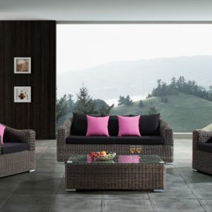 Outdoor Wicker Patio 5 Piece Steel Sofa Sectional Set