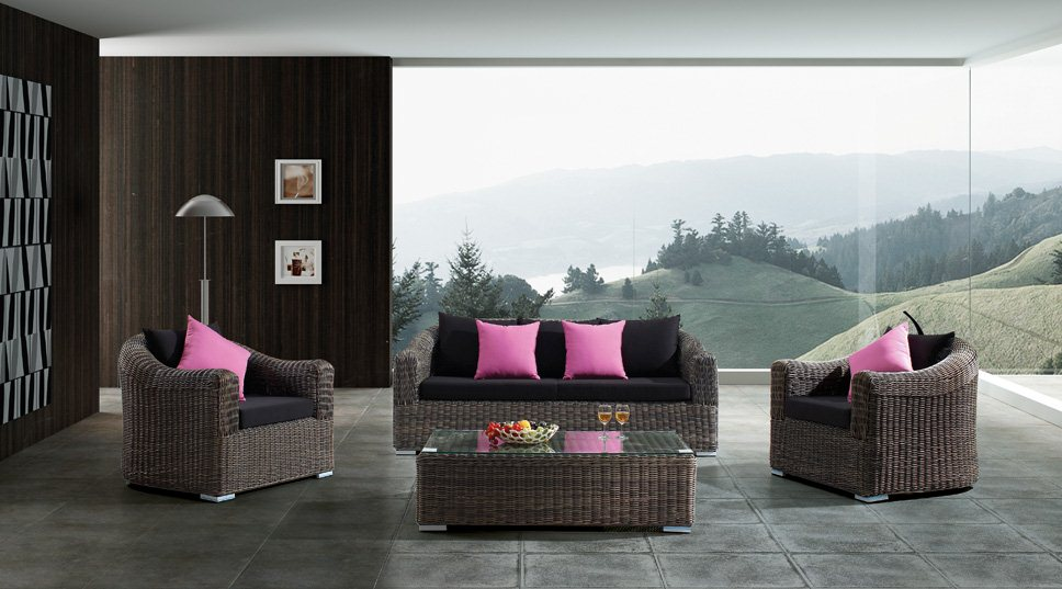 Outdoor Wicker Patio 5 Piece Steel Sofa Sectional Set with Coffee Table