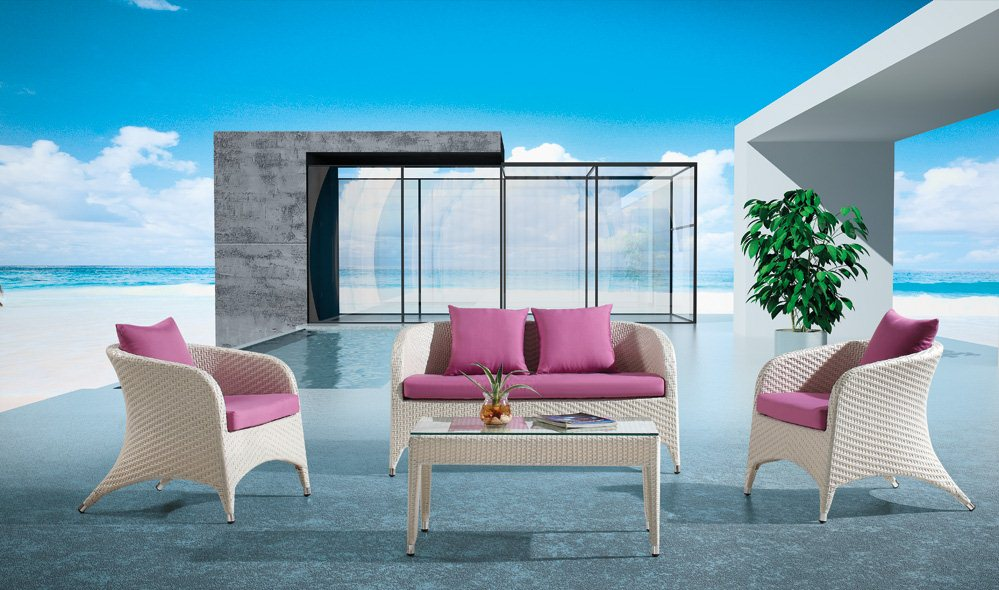4 Piece Outdoor Wicker Loveseat Sofa Set with Arm Chairs