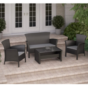 Outdoor Patio 4 Piece Steel Sofa Conversation Set