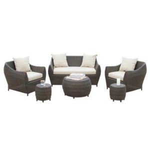 Outdoor Wicker Patio 4 Piece Steel Sofa Conversation Set
