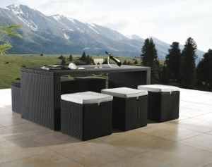 Outdoor 7 Piece Steel Wicker Bar Set