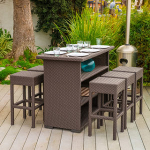 Outdoor 7 Piece Steel Wicker Patio Bar Set