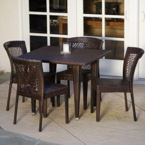 Outdoor Wicker 5 Piece Dining Set