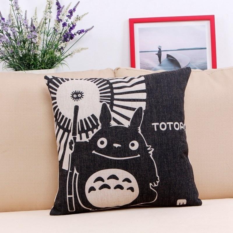 Black Cotton Throw Pillows : Black Illustration Cotton Throw Pillow - DECORHUBNG