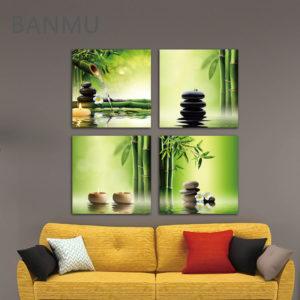 Modern 4 Panel Bamboo Green Wall Canvas