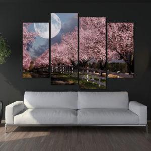 4 Panel Cherry Tree Canvas Wall Art