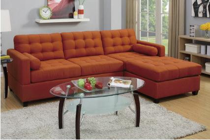 Burnt-Orange Sectional Sofa