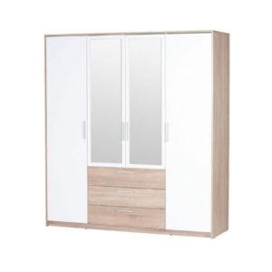 Mirrored White and Oak Wardrobe